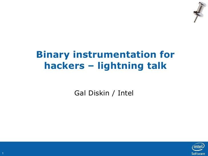 Binary instrumentation for     hackers – lightning talk           Gal Diskin / Intel1