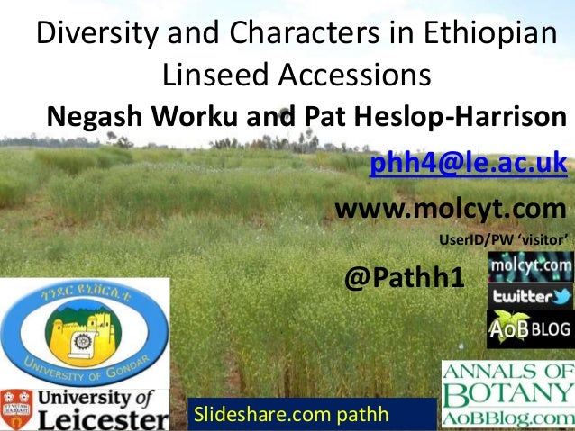 Diversity and Characters in Ethiopian Linseed Accessions Negash Worku and Pat Heslop-Harrison phh4@le.ac.uk www.molcyt.com...