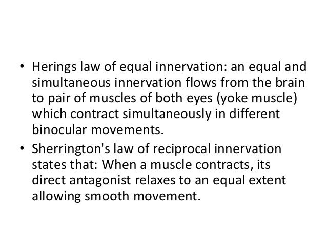 • Herings law of equal innervation: an equal and simultaneous innervation flows from the brain to pair of muscles of both ...