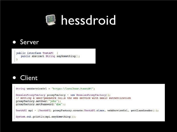 Hessdroid - a Hessian library for Android