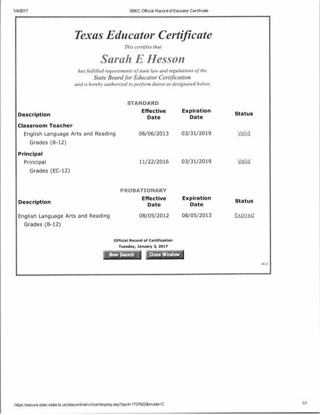 Sarah Hesson Texas Educator Certificate