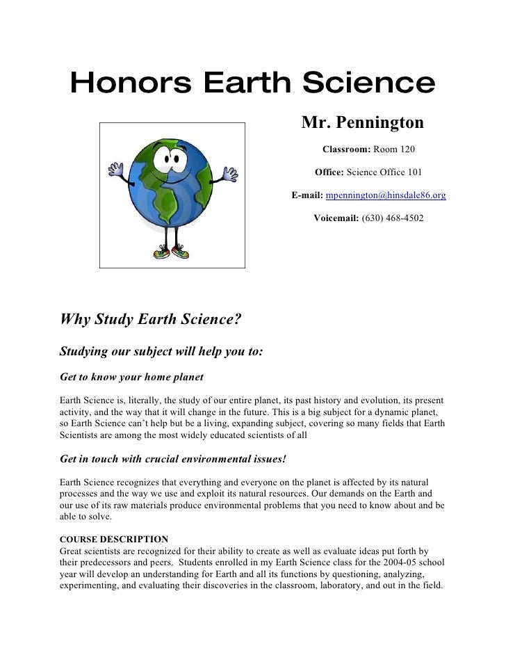 Honors Earth Science                                                                  Mr. Pennington                      ...