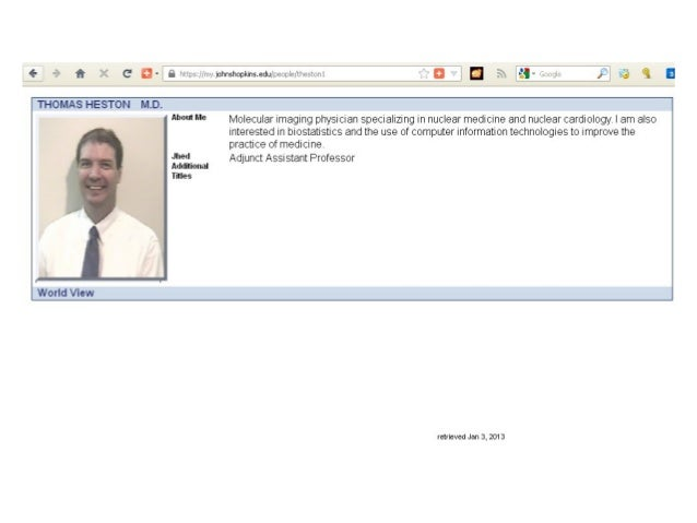 Thomas Heston MD - Johns Hopkins Faculty Profile