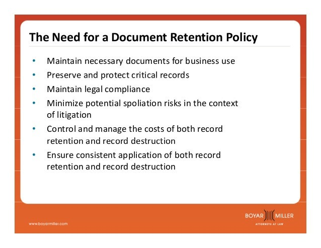 Boyarmiller  To Shred Or Not To Shred Document Retention Policies A