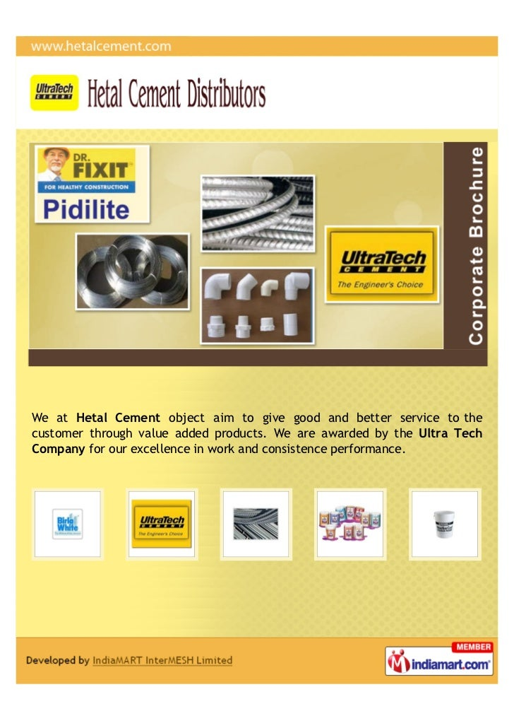 Ultra Tech Products : Hetal cement distributors anand building solution