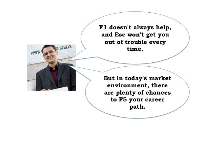 F1 doesnt always help, and Esc wont get you  out of trouble every          time. But in todays market  environment, there ...
