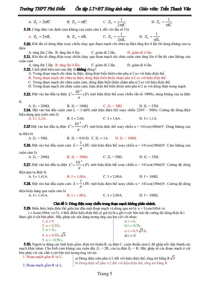 Trường THPT Phú Điền A. ZC  2fC  Ôn tập LT+BT Sóng ánh sáng B. ZC  fC  C. ZC   1 2fC  Giáo viên: Trần Thanh Vân D. Z...