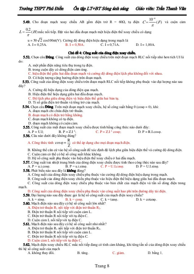 Trường THPT Phú Điền  Ôn tập LT+BT Sóng ánh sáng  Giáo viên: Trần Thanh Vân  5.49. Cho đoạn mạch xoay chiều AB gồm điện tr...