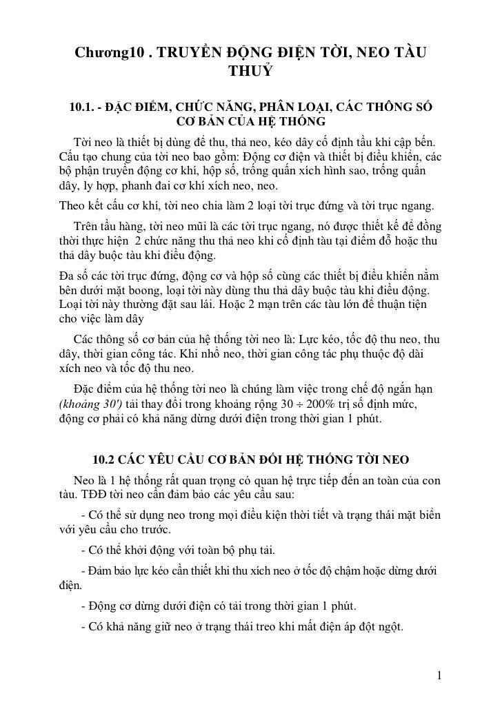 Chương10 . TRUYỀN ĐỘNG ĐIỆN TỜI, NEO TÀU                     THUỶ  10.1. - ĐẶC ĐIỂM, CHỨC NĂNG, PHÂN LOẠI, CÁC THÔNG SỐ   ...