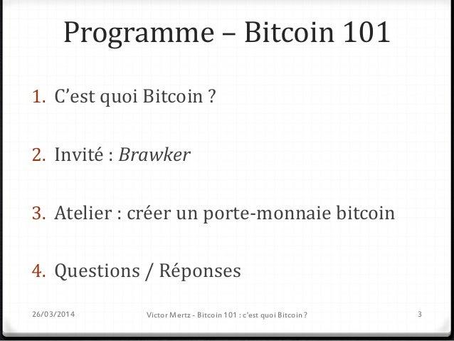 Disclaimer - Décharge  Mes propos n'engagent que moi  Cette présentation est une introduction au Bitcoin, et n'est donc ...