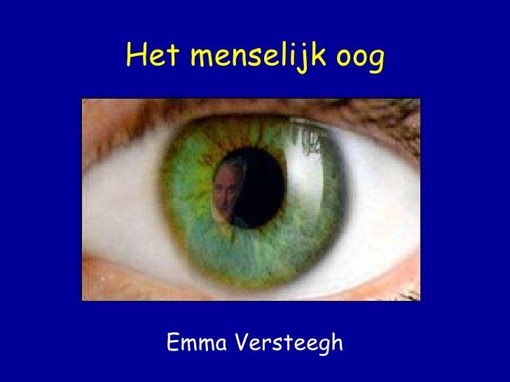Het menselijk oog Emma Versteegh