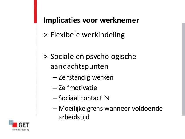 > Flexibele werkindeling > Sociale en psychologische aandachtspunten – Zelfstandig werken – Zelfmotivatie – Sociaal contac...