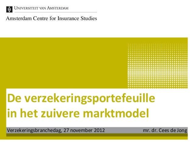 Amsterdam Centre for Insurance StudiesDe verzekeringsportefeuille in het zuivere marktmodel Verzekeringsbranc...