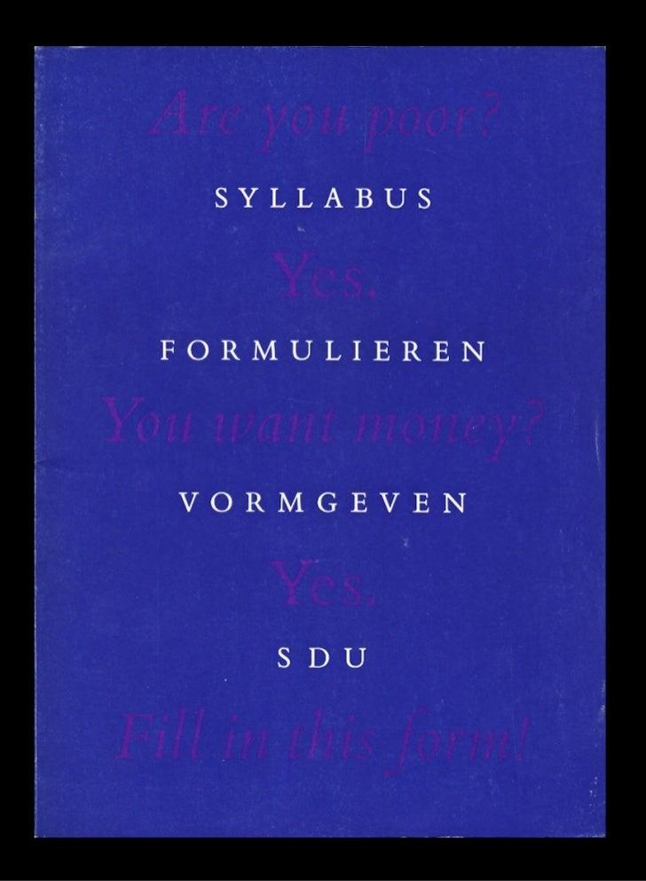 Het universele formulier (SDU,1988)