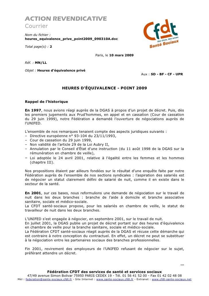 ACTION REVENDICATIVE      Courrier      Nom du fichier :      heures_equivalence_prive_point2009_090310A.doc       Total p...