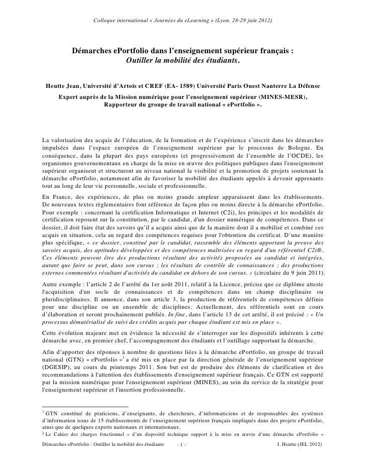 Colloque international « Journées du eLearning » (Lyon, 28-29 juin 2012)                  Démarches ePortfolio dans l'ense...