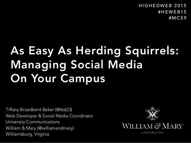 Tiffany Broadbent Beker (@tb623) Web Developer & Social Media Coordinator University Communications William & Mary (@wi...