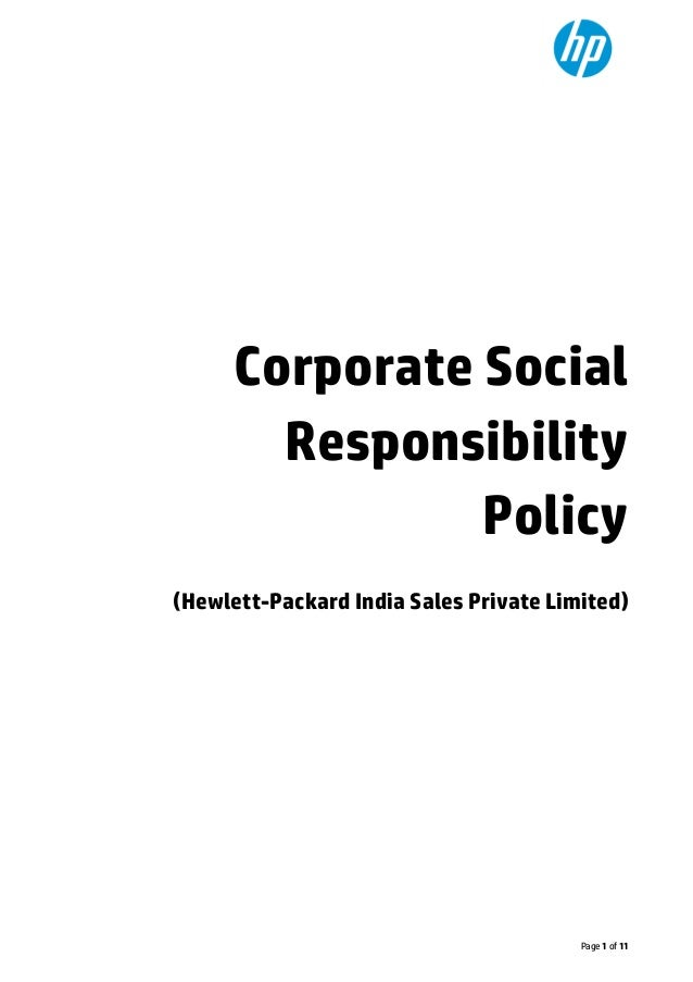 y Page 1 of 11 Corporate Social Responsibility Policy (Hewlett-Packard India Sales Private Limited)