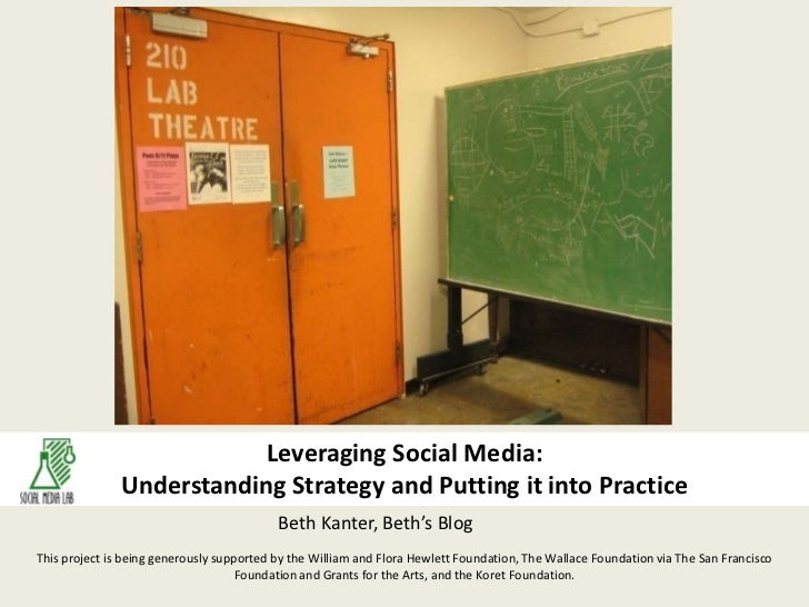 Leveraging Social Media:Understanding Strategy and Putting it into Practice<br />Beth Kanter, Beth's Blog<br />This projec...