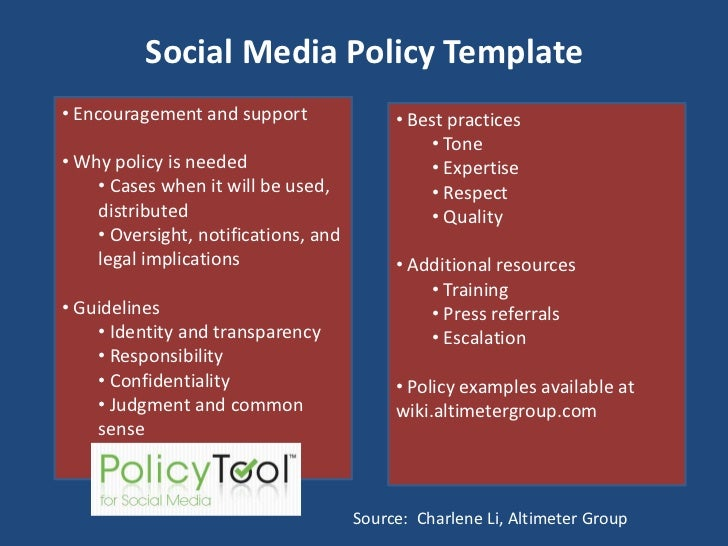 Social Media Policy Template<br /><ul><li> Encouragement and support