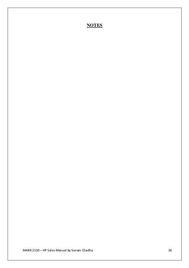 Hewlett packard sales manual – Sales Manual Template