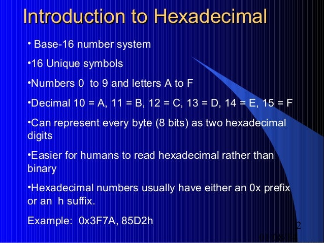 how to write hexadecimal numbers