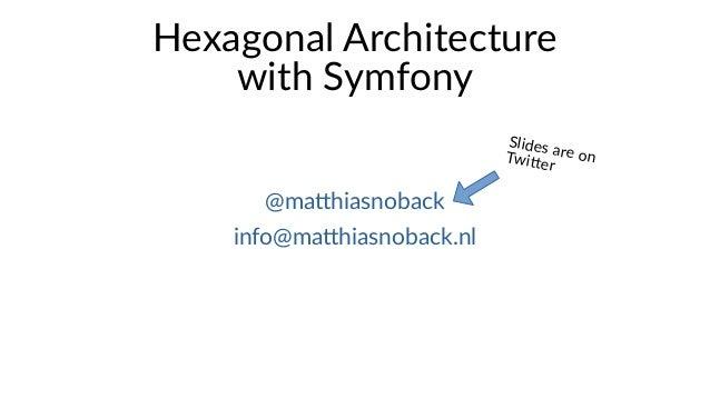 Hexagonal Architecture with Symfony @matthiasnoback info@matthiasnoback.nl Slides are onTwitter