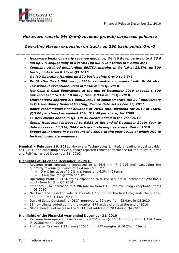 Financial Release December 31, 2010  Hexaware reports 9% Q-o-Q revenue growth; surpasses guidance   Operating Margin expan...