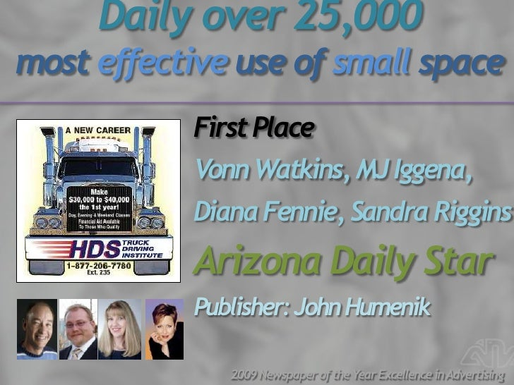 Daily over 25,000 most effective use of small space            First Place            Vonn Watkins, MJ Iggena,            ...