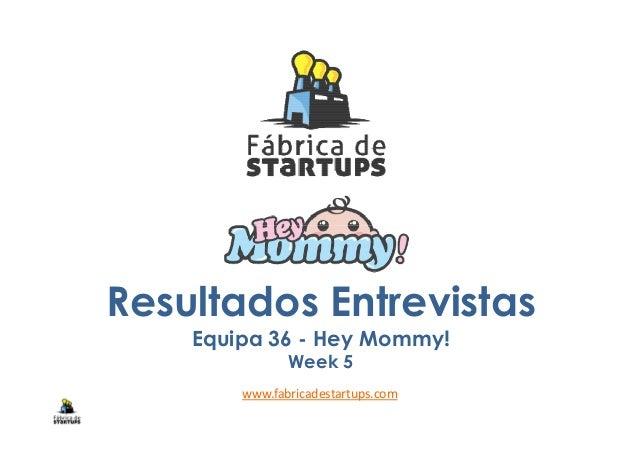 Resultados Entrevistas Equipa 36 - Hey Mommy! Week 5 www.fabricadestartups.com