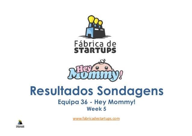 Resultados Sondagens Equipa 36 - Hey Mommy! Week 5 www.fabricadestartups.com