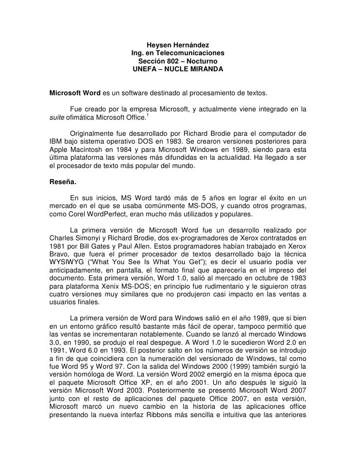 Heysen Hernández<br />Ing. en Telecomunicaciones<br />Sección 802 – Nocturno<br />UNEFA – NUCLE MIRANDA<br />Microsoft Wor...