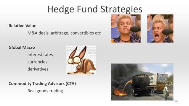 Hedge Fund Strategies Relative Value M&A deals, arbitrage, convertibles etc  Global Macro Interest rates currencies  deriv...