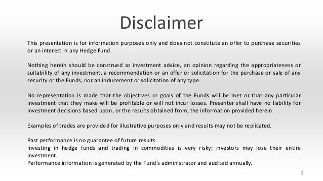 Disclaimer This presentation is for information purposes only and does not constitute an offer to purchase securities or a...