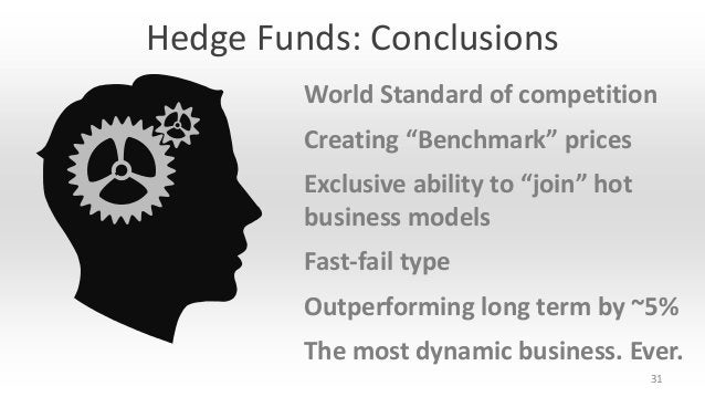 """Hedge Funds: Conclusions World Standard of competition Creating """"Benchmark"""" prices Exclusive ability to """"join"""" hot busines..."""