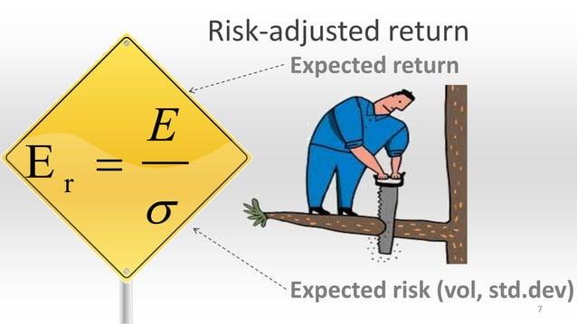 Risk-adjusted return Expected return  Er   E   Expected risk (vol, std.dev) 7