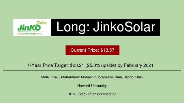 Long: JinkoSolar 1-Year Price Target: $23.21 (25.0% upside) by February 2021 Malik Khalil, Mohammad Mobashir, Ibraheem Kha...