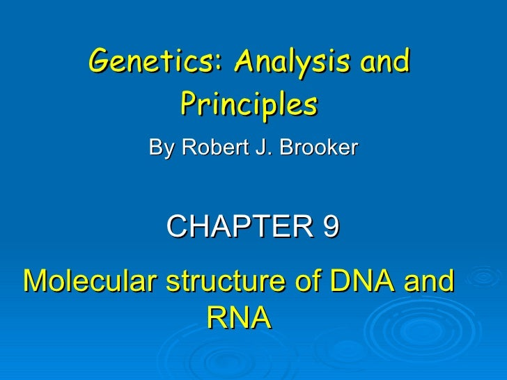 Genetics: Analysis and Principles By Robert J. Brooker CHAPTER 9 Molecular structure of DNA and RNA