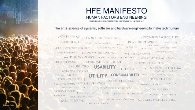 HFE MANIFESTO HUMAN FACTORS ENGINEERING NOKIA CLOUD INNOVATION CENTER NAPERVILLE, IL APRIL19 2017 The art & science of sys...