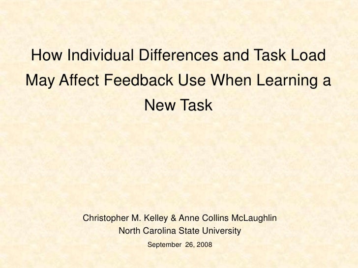How Individual Differences and Task Load May Affect Feedback Use When Learning a New Task<br />Christopher M. Kelley & Ann...