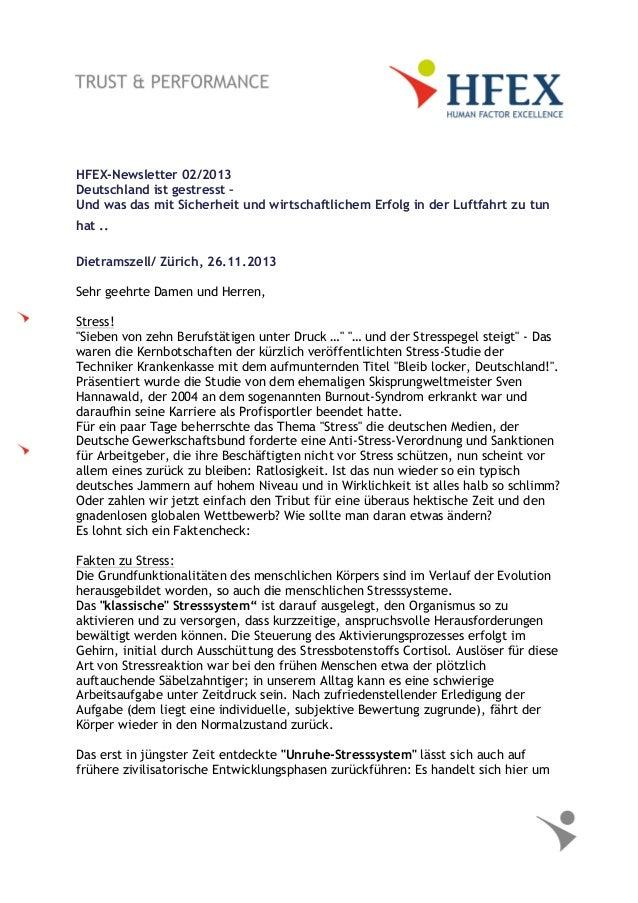 HFEX-Newsletter 02/2013 Deutschland ist gestresst – Und was das mit Sicherheit und wirtschaftlichem Erfolg in der Luftfahr...