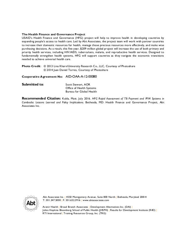 HFG Rapid Assessment of TB Payment and PFM Systems in Cambodia: Lesso…
