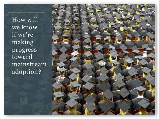 11 How will we know if we're making progress toward mainstream adoption?