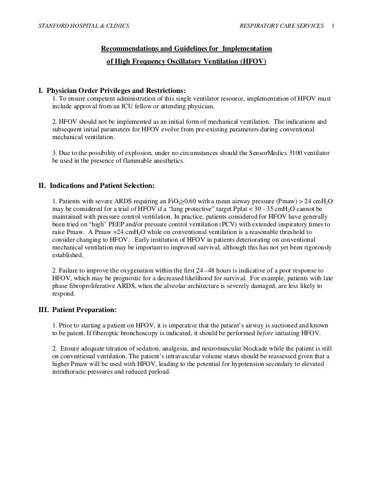STANFORD HOSPITAL & CLINICS                                                RESPIRATORY CARE SERVICES            1         ...