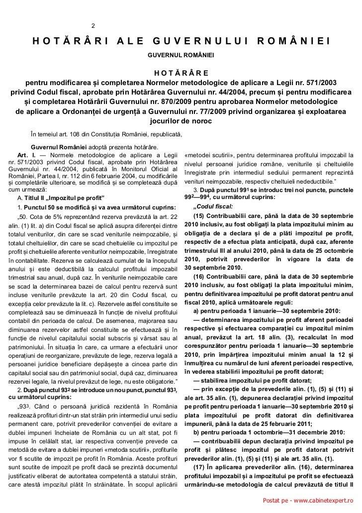 2         HOTĂRÂRI ALE GUVERNULUI ROMÂNIEI                                                         GUVERNUL ROMÂNIEI      ...