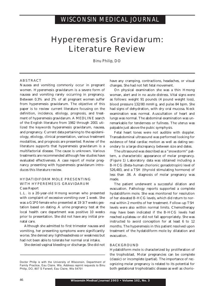 WISCONSIN MEDICAL JOURNAL                           Hyperemesis Gravidarum:                            Literature Review  ...
