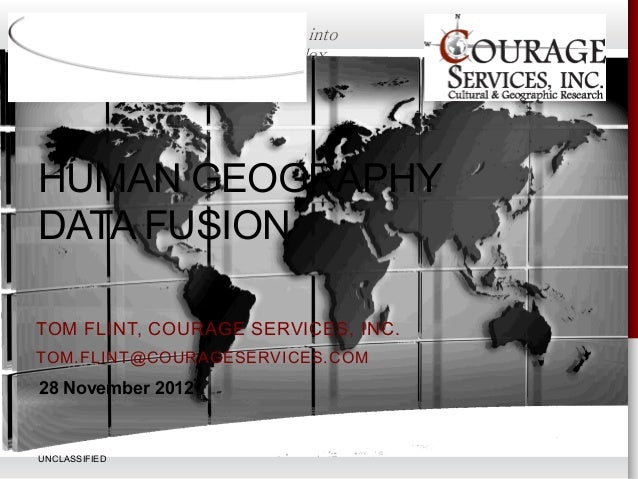 Providing innovative analytic insight into                   the world's complex              environment HUMAN GEOGRAPHY ...