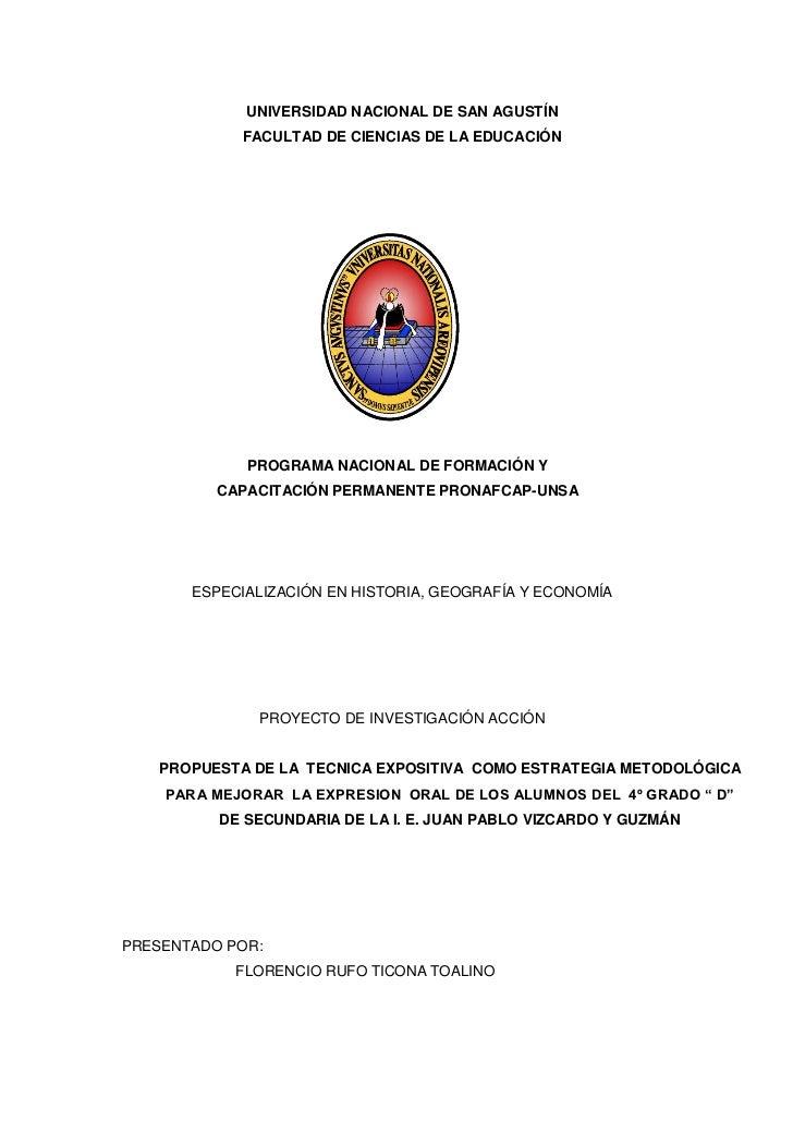 UNIVERSIDAD NACIONAL DE SAN AGUSTÍN             FACULTAD DE CIENCIAS DE LA EDUCACIÓN             PROGRAMA NACIONAL DE FORM...