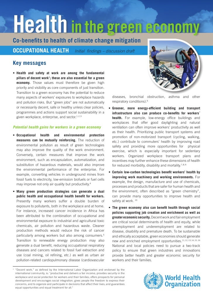 Health in the green economyCo-benefits to health of climate change mitigationOCCUPATIONAL HEALTH                          ...