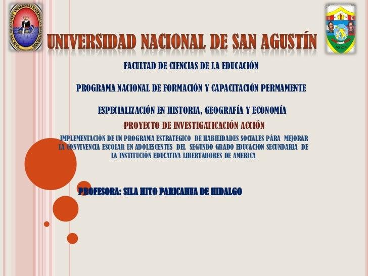 FACULTAD DE CIENCIAS DE LA EDUCACIÓN     PROGRAMA NACIONAL DE FORMACIÓN Y CAPACITACIÓN PERMAMENTE            ESPECIALIZACI...